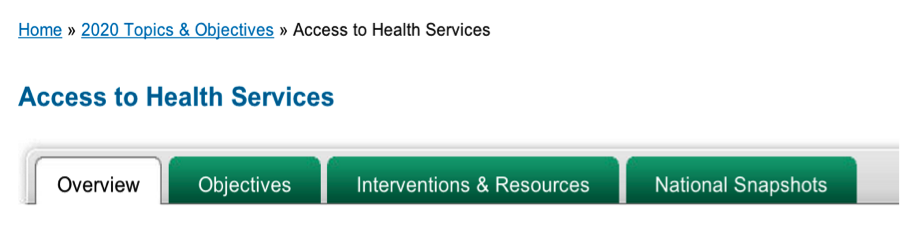 picture of Access to Health Services Topics & Objectives page