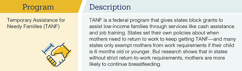 Programs that Address Barriers to Breastfeeding. Click to view image larger.