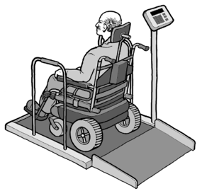 Illustration of a wheelchair scale.